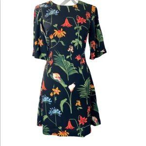 Ann Taylor Black Floral Tropical Dress size 10